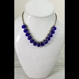 Large Blue Beads Statement Necklace